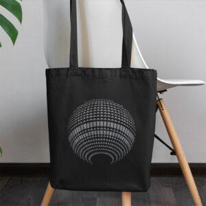 schwarze Baumwolltasche Fernsehturm an Stuhl hängend