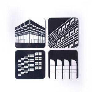 Berlin Untersetzer Architekturikonen schwarz weiß