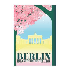 Berlin Postkarte Brandenburger Tor Kirschblüte