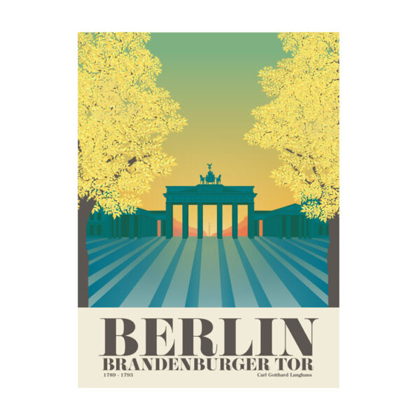 Berlin Postkarte Brandenburger Tor Sonnenuntergang