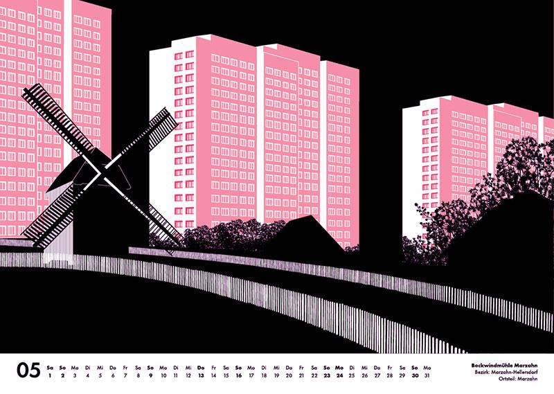 Marzahn Grafik Plattenbau und Windmühle