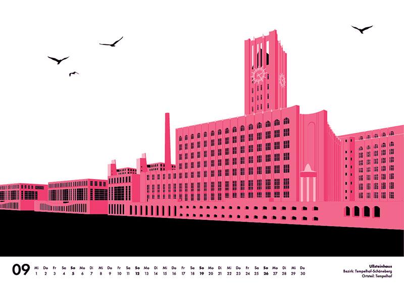 Ullsteinhaus rosa Illustration