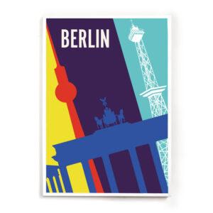 Berlin Travelposter weißer Rahmen