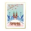 Freiburg Poster Wiwilibrücke Goldrahmen