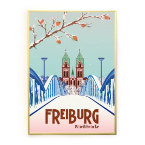 Blaue Brücke Freiburg Poster