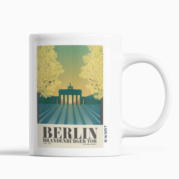 Keramiktasse mit Henkel bunt bedruckt mit Stadtansicht Berlin