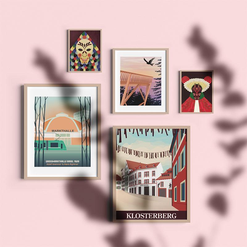 Basel und Schwarzwald Poster auf rosa Wand